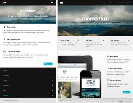 Screenshots from Momentum website showing the footer anchor solution to responsive navigation