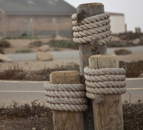 3 wooden posts wrapped with rope