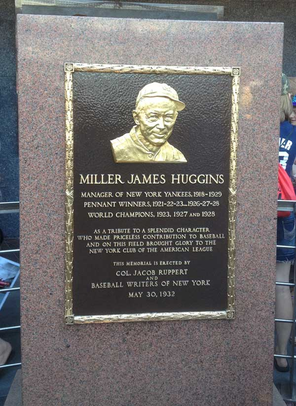Miller Huggin's monument at Yankee Stadium's Monument Park