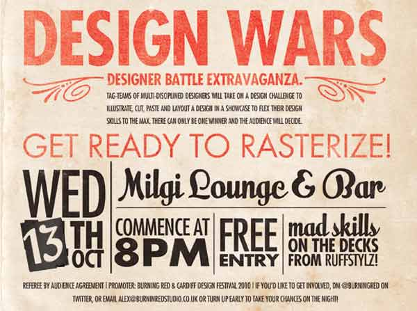 Part of a typographic poster promoting Design Wars event
