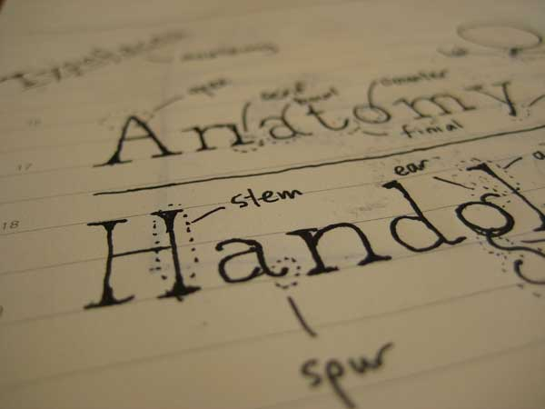 Typeface anatomy sketch