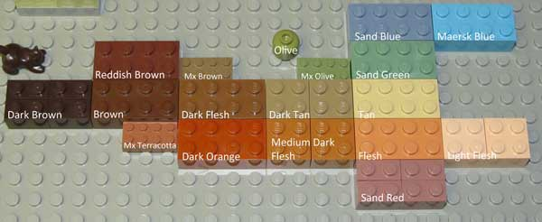 Earth tone lego pieces