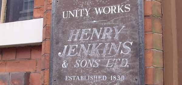 Sign for Unity Works, Henry Jenkins & Sons