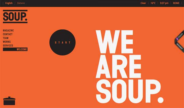 Welcome section of SOUP Agency's site