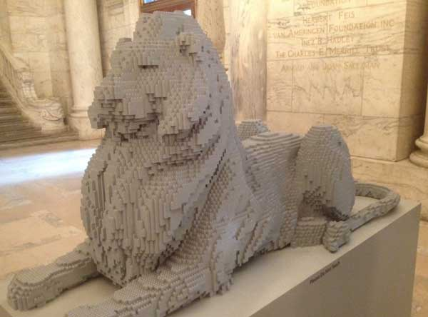 Lego replica of the library lion