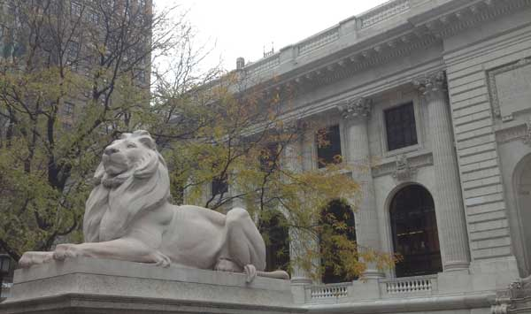 Lion Statue in from of the New York Public Library