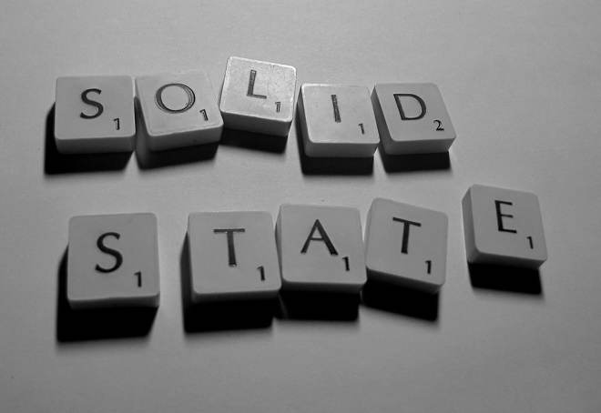 Scrabble tiles spelling the words solid state