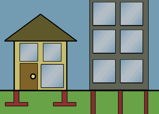flat cartoon like drawing showing foundation of house and skyscraper