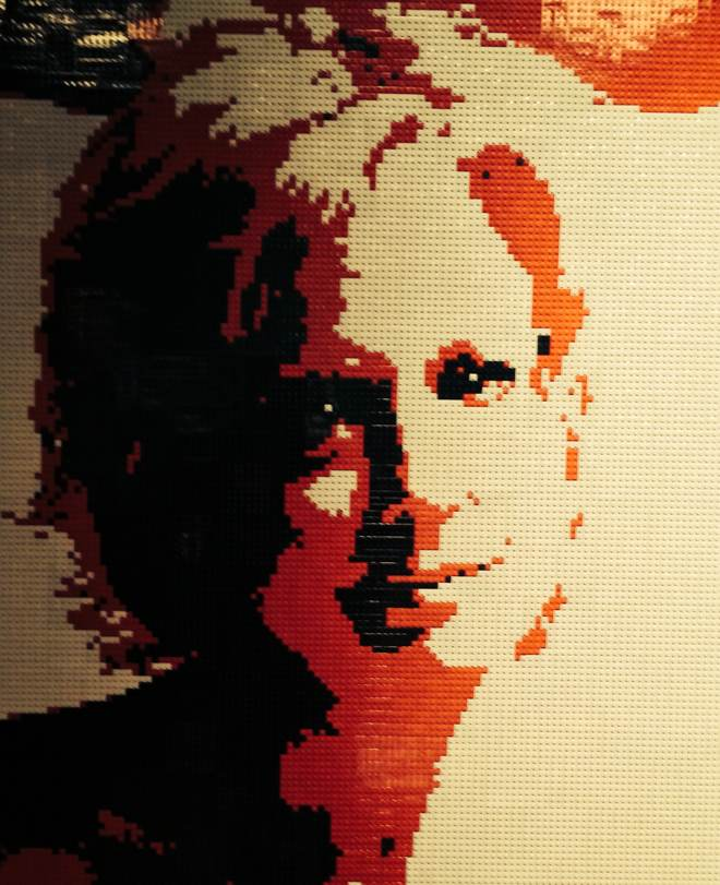 Lego painting of a woman
