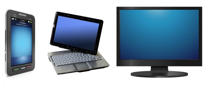 a smart phone, a tablet laptop hybrid, and a desktop monitor