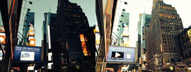 Experiment with lighting at Time's Square