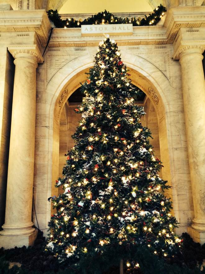 Christmans tree at the New York Public Library