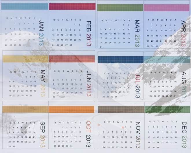 2013 calendar over a snowy mountain background