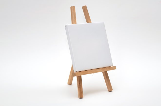 A blank canvas on an easel
