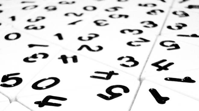 single digit numbers randomly displayed