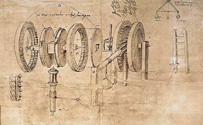 Exploded view drawing of a mechanical system by Leonardo da Vinci