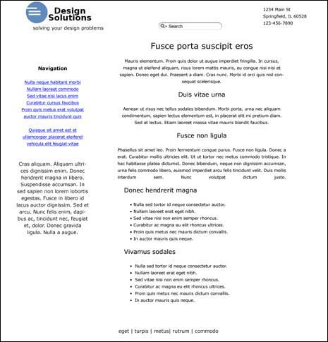 An example of a web page with an amateur design
