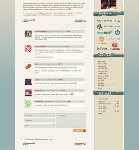 Screenshot of Matt Mullenweg's blog