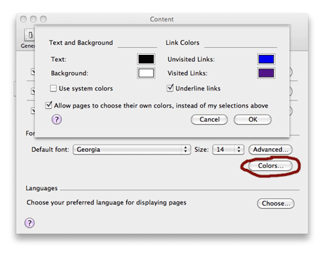 Firefox preferences colors advanced settings