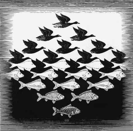 M.C. Escher's Sky and Water I, 1938