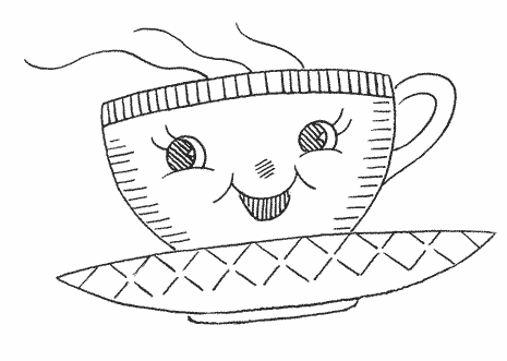Tea cup drawing with eyes, nose, and mouth, displaying an anthropomorphic form