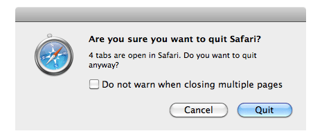 Are you sure you want to quit Safari confirmation dialog