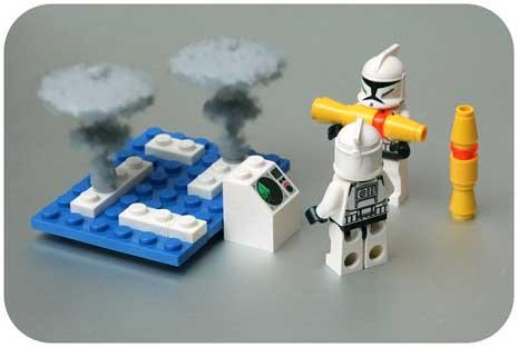 Lego pieces launching lego nuclear warhead