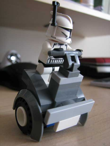 Segway and rider made from Lego