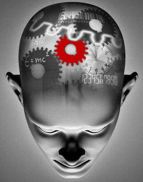Gears, numbers, clock, and forula, superimposed on the human mind