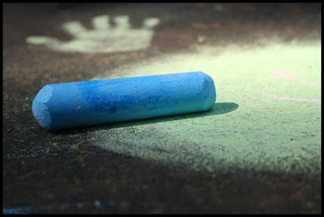 Blue chalk awaiting creativity