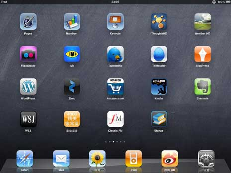 iPad home screen showing apps