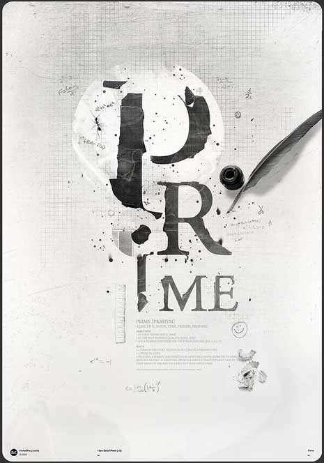Digital typographic art of the word prime