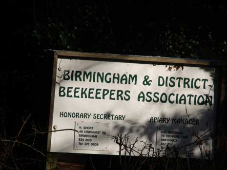 Sign for Birmingham & District Beekeepers Association - in Highbury Park