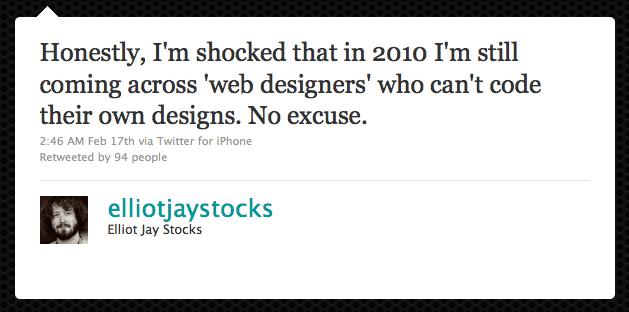 Tweet from Elliot Jay Stocks