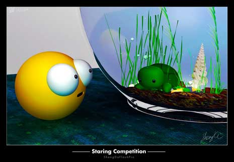 Digital rendering of a staring competition between a smiley face and a turtle