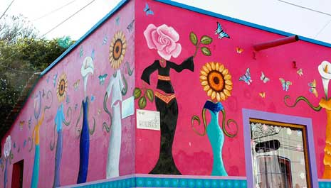 Morlos street stylish store Mexico, painted pink and decorated with flowers