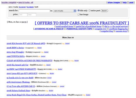 Listing of cars for sale on Craigslist