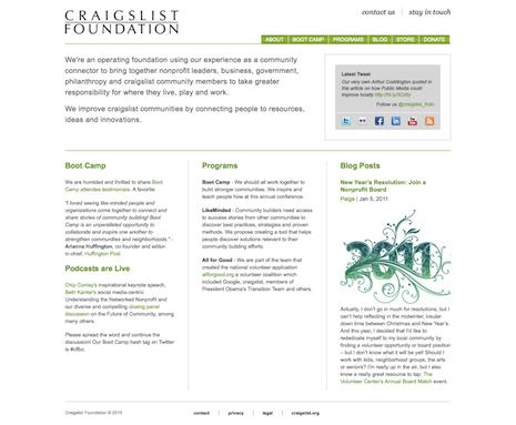 Craigslist Foundation home page