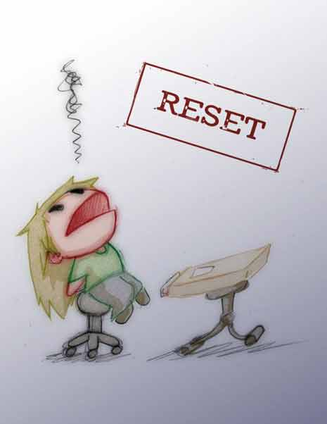 Illustration of child sitting at a school desk with the word reset