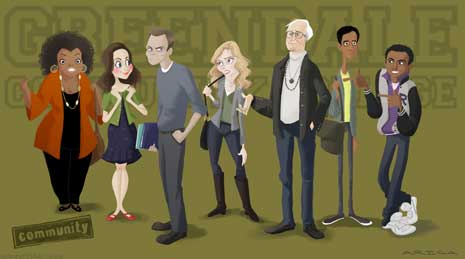 Cartoon of the cast of NBC's Community