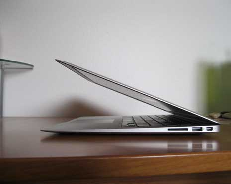 MacBook Air open and seen from side