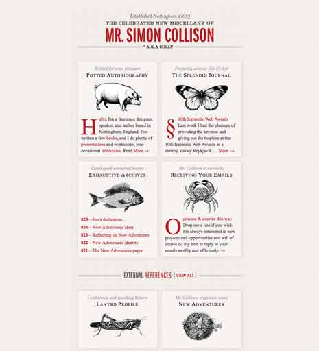 Screenshot of 'Simon Collison' home page with browser window made smaller