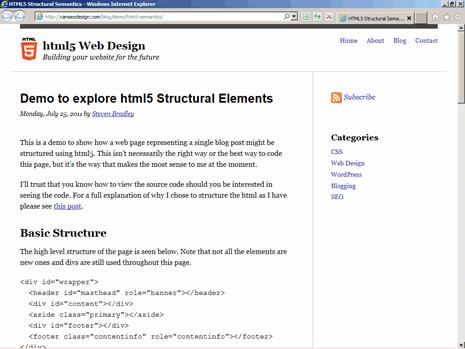 The demo as viewed in Internet Explorer 9 On Windows Vista