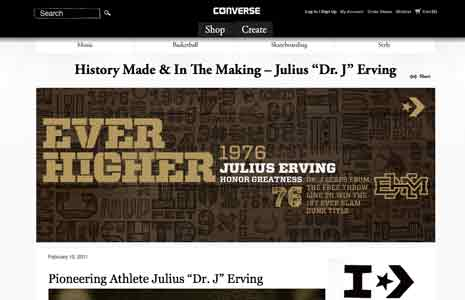 Screenshot from Converse site featuring Julius Irving