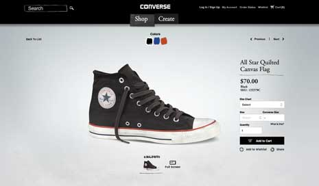 Screenshot for a page selling Converse's Chuck Taylor sneakers