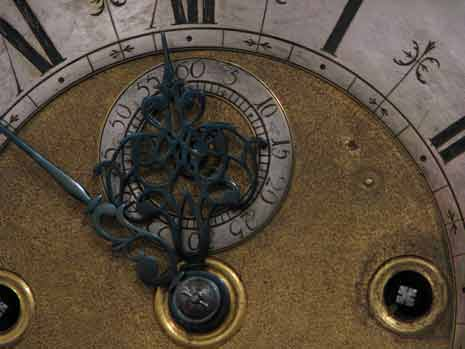 Closeup of a clock face