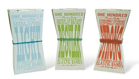 Packaging for elastic bands showing front of flexible box