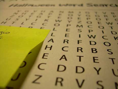Letters in a word search game