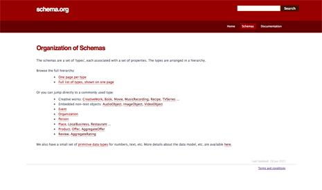 Screenshot from the schema.org website