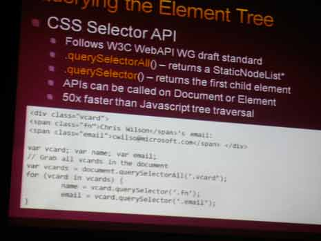 Presentation slide talking about the css selector api